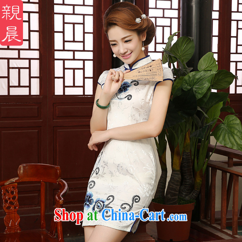 The pro-am 2015 as soon as possible new daily short summer-cultivating retro Ethnic Wind cheongsam dress dress short-sleeved 2XL