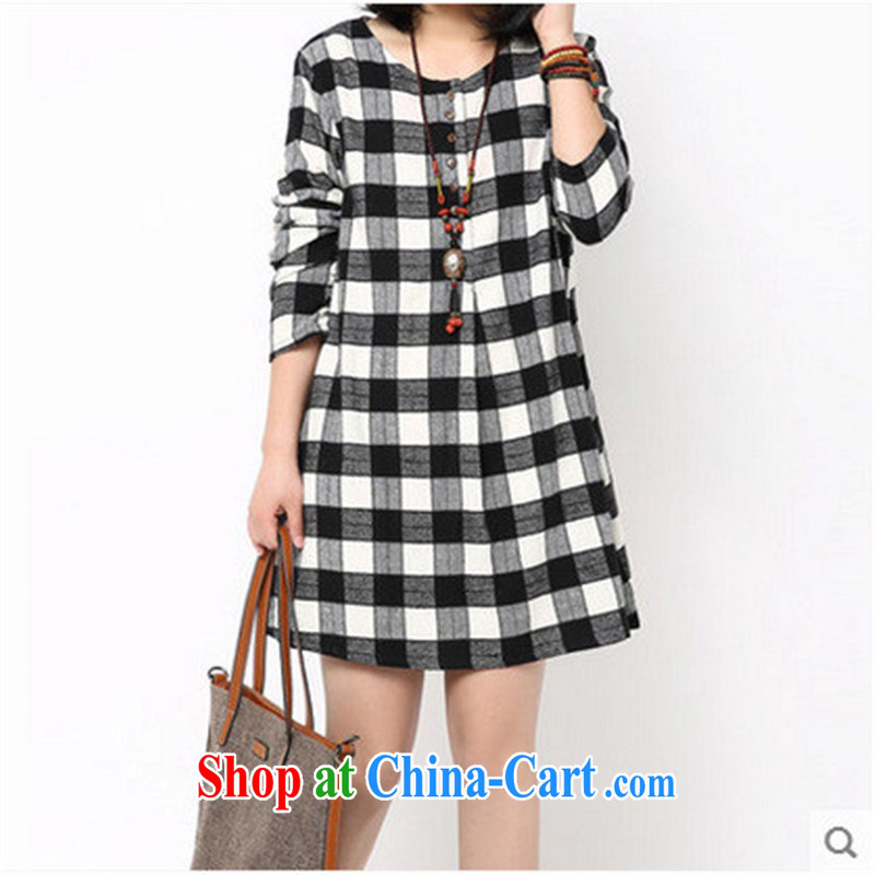2015 spring new Korean loose the code frock decorated with tartan spring long-sleeved ripstop taffeta overlay dress sky blue large code are code