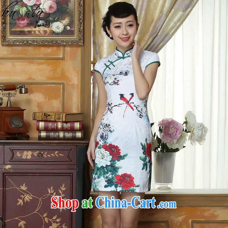 Take the 2015 summer new dress cheongsam dress stylish facade improved daily jacquard cotton robes short as the color 2 XL