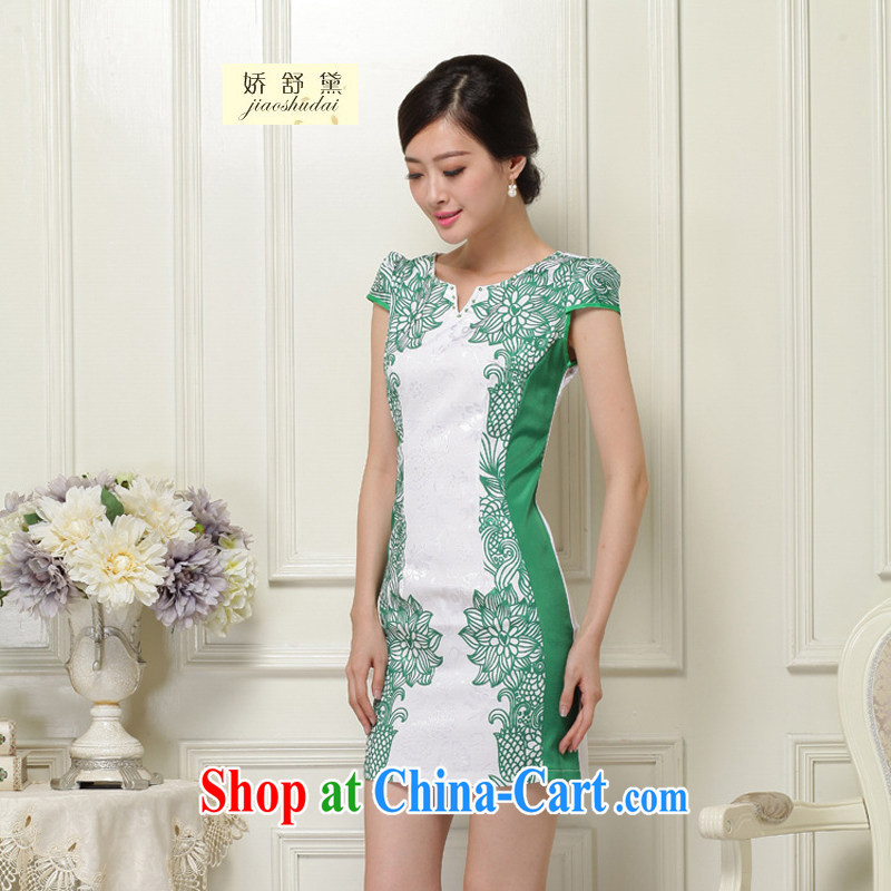 Air Shu Diane 2015 new summer beauty improvement everyday dresses dresses women dresses retro female 26 green L