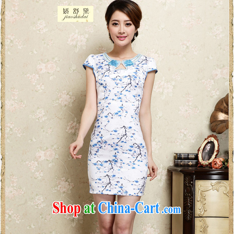 Air Shu Diane 2015 summer new hand-painted plum sexy cheongsam dress Ethnic Wind daily retro dresses girls 30 blue XXL