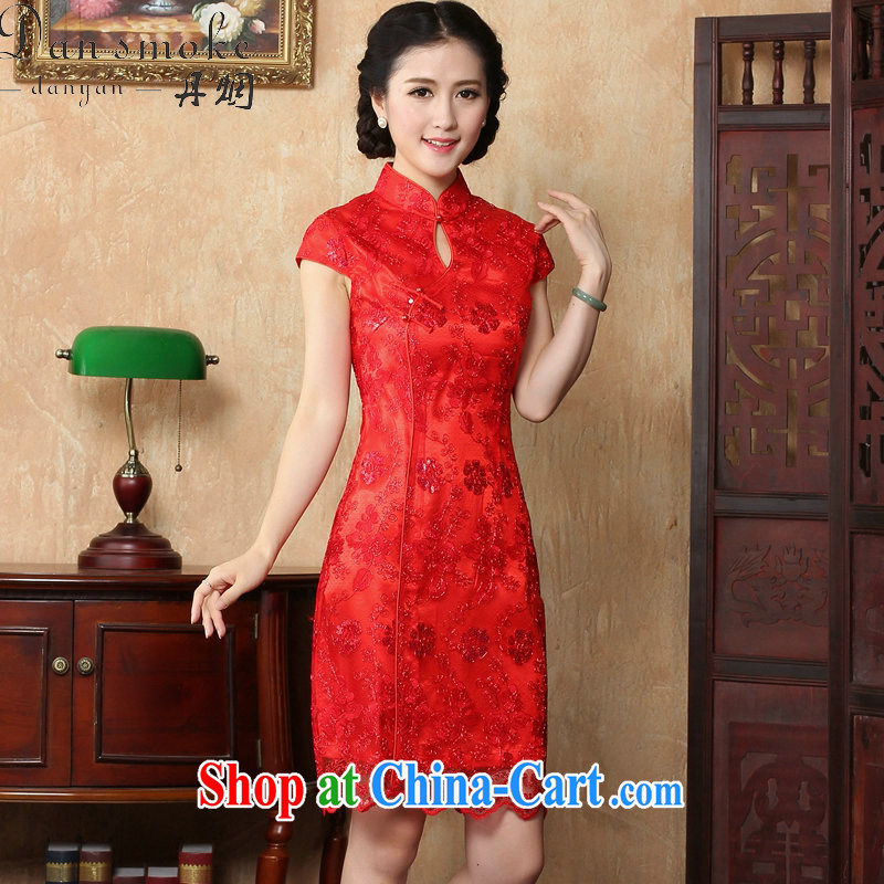 spend the summer with new red bride toast wedding dress retro embroidery short improved cheongsam, Chinese dresses for red 2 XL
