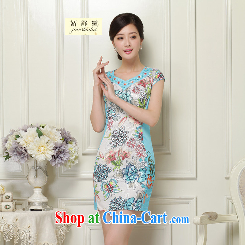 Air Shu Diane 2015 spring dresses new cultivating ethnic wind stamp cheongsam Silk Dresses girls 31 green XXL