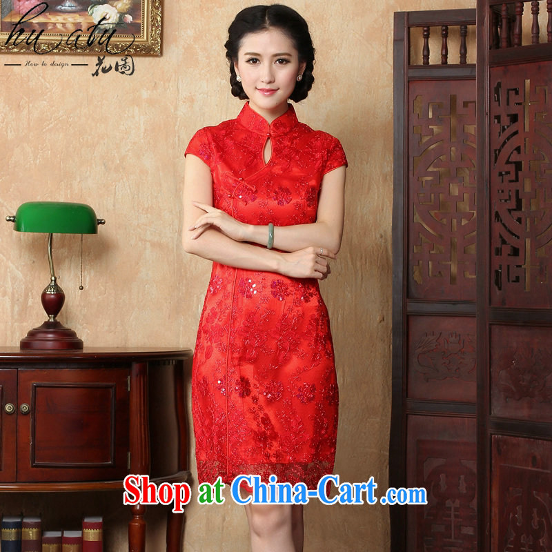 Bin Laden smoke summer New Red bridal wedding dresses toasting retro embroidery short improved cheongsam, Chinese dresses for red 2 XL
