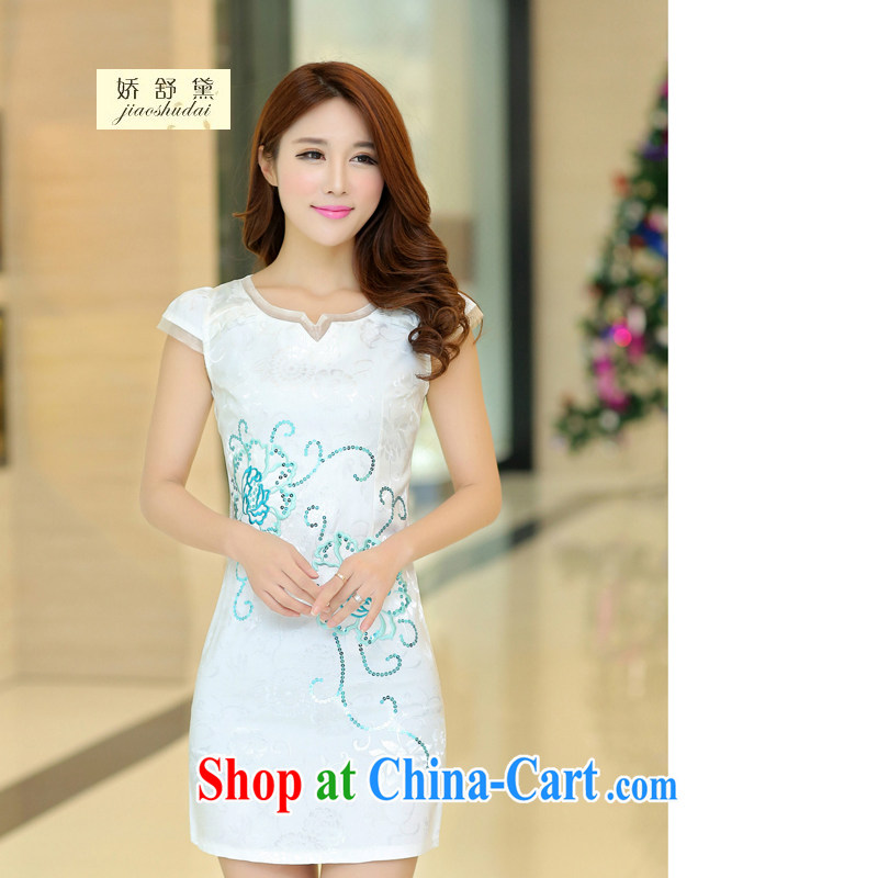 Air Shu Diane 2015 new spring and summer cheongsam dress summer lace retro fashion beauty graphics thin dresses improved cheongsam girls 32 white XL