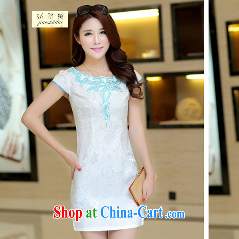 2015 new spring and summer white jacquard cotton retro daily improved cheongsam dress temperament female 33 white XL