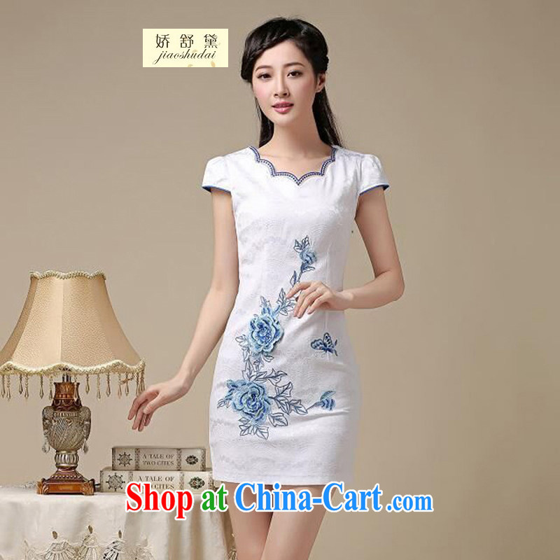 Air Shu Diane 2015 summer new women who are decorated in traditional costumes dresses everyday dresses female short 39 blue flower XXL