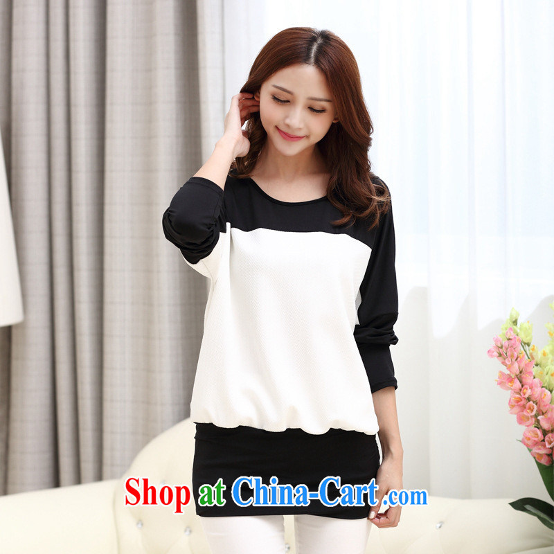 Ya-ting store 2015 summer new Korean Beauty knit shirts ladies fashion style graphics thin long-sleeved shirt solid white XXL