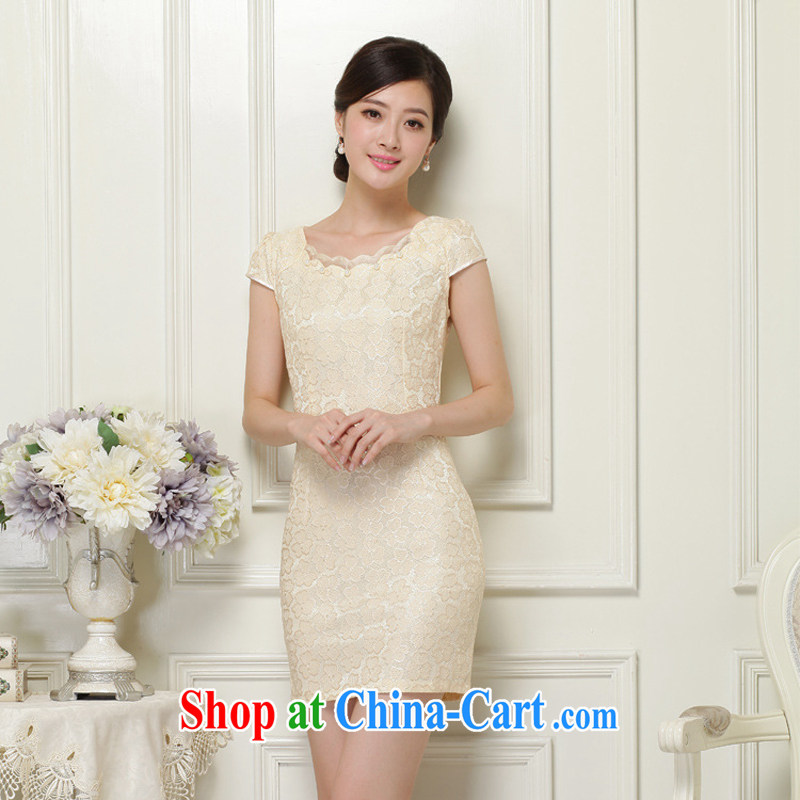 2015 summer new Chinese improved stylish dresses summer lace dresses ethnic wind retro short cheongsam dress 37 apricot S