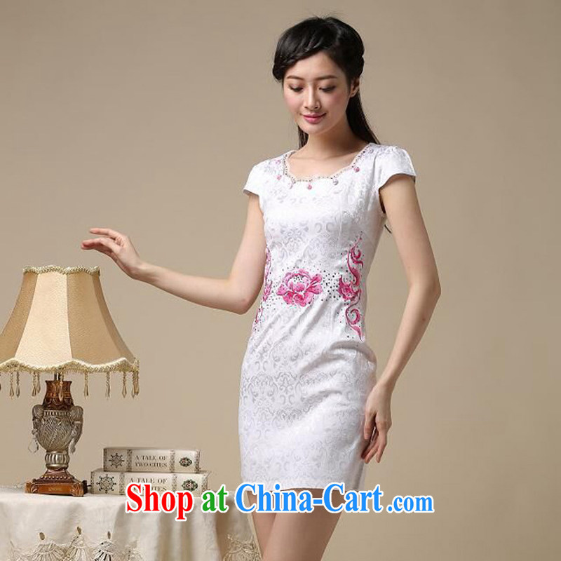 Dresses 2015 new spring and summer with black on white jacquard cotton retro daily improved cheongsam dress temperament female 50 white saffron M