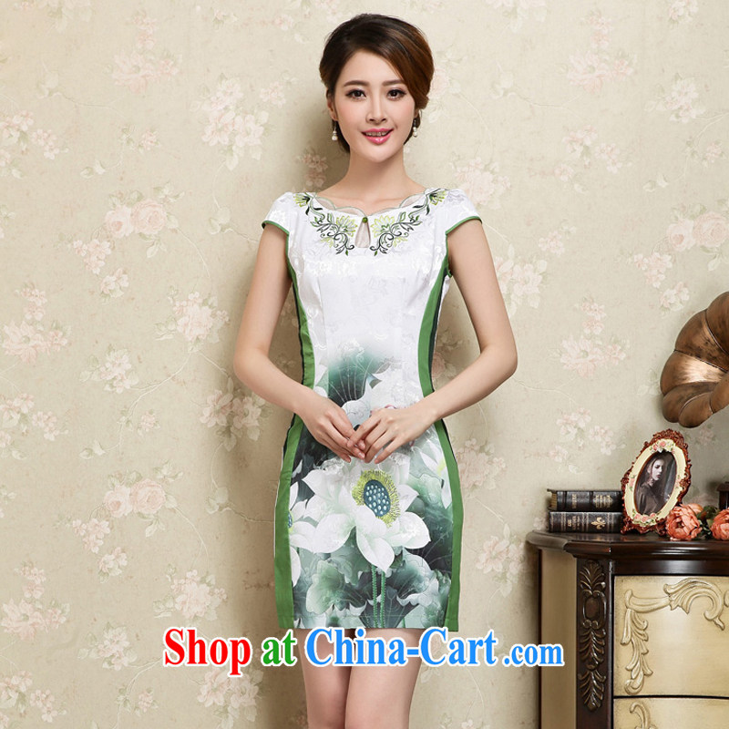 2015 new short, decorated in summer, daily improved fashion cheongsam dress skirt retro style dress short-sleeved 25 green XL