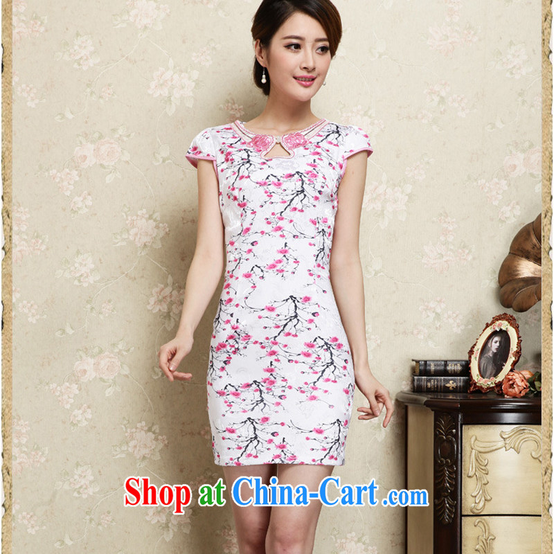 Improved cheongsam stylish summer 2015 new hand-painted plum sexy cheongsam dress Ethnic Wind daily retro dresses 30 red XXL