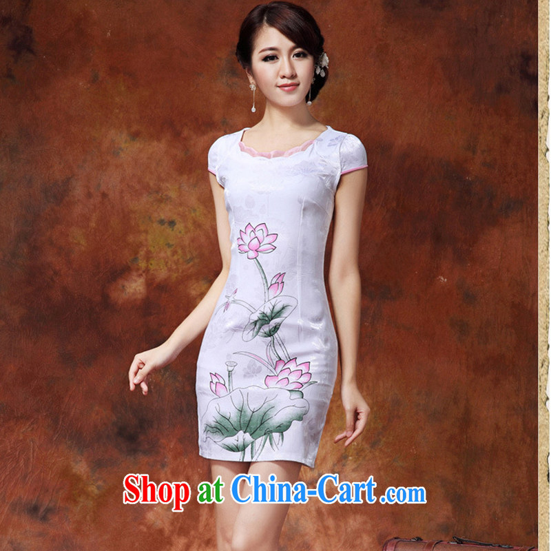 traditional costumes and Stylish spring/summer 2015 new Chinese Lotus figure daily short improved cheongsam dress style female 36 white S