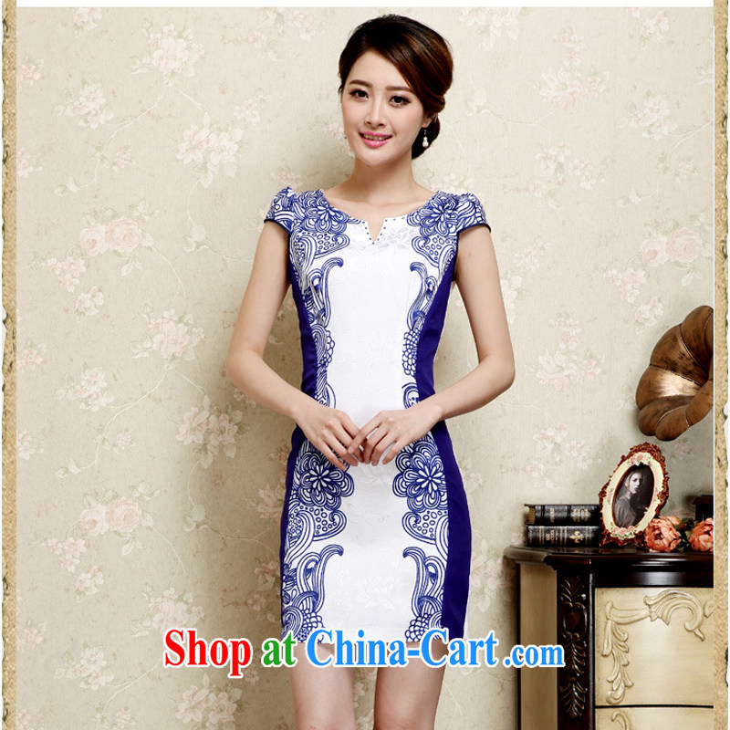 2015 new summer women cheongsam dress short-sleeved beauty stamp National wind package and skirt 26 blue XXL