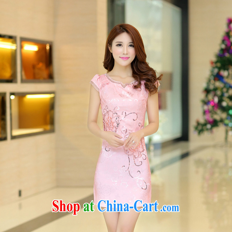2015 new spring and summer dresses lace retro fashion beauty graphics thin cheongsam dress improved cheongsam dress 32 pink L