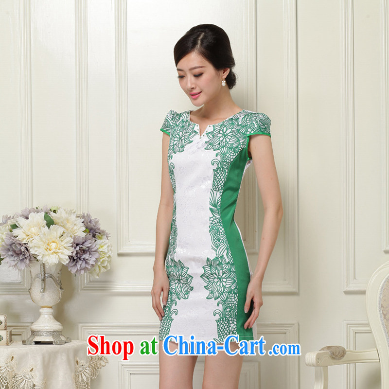 2015 new summer women cheongsam dress short-sleeved beauty stamp National wind package and skirt 26 Green S
