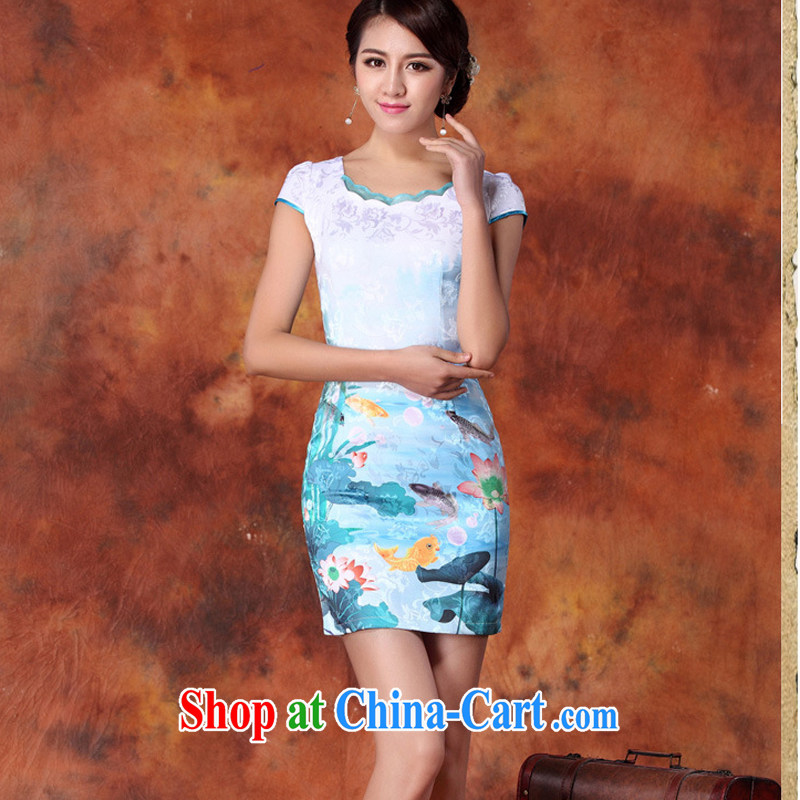2015 new short, decorated in summer, daily improved fashion cheongsam dress skirt retro style dress short-sleeved 29 blue L