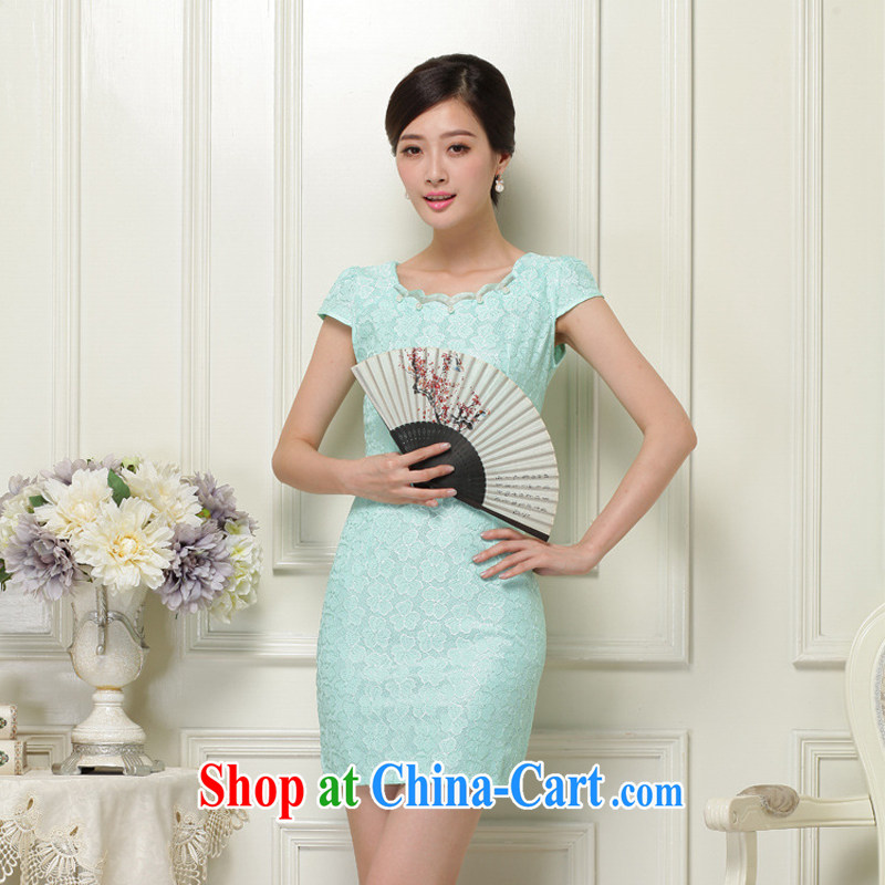 2015 summer new Chinese improved stylish dresses summer lace dresses ethnic wind retro short cheongsam dress 37 green XL