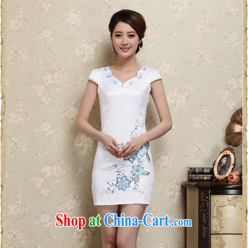 2015 summer edition Korea Stylish retro Ethnic Wind Tang with Han-package shoulder embroidery Sau San cheongsam dress new 27 blue XL