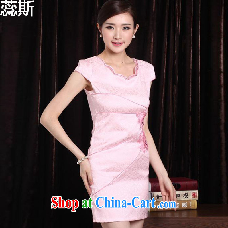 The acajou _2015 summer New New embroidered dresses dresses women 1242 pink XXL