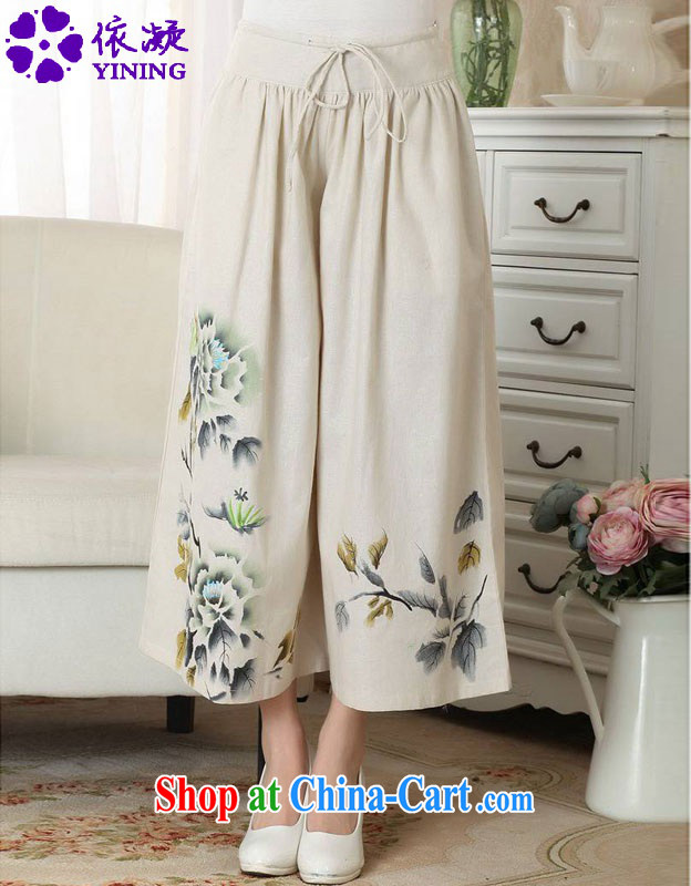 According to fuser new Ethnic Wind girls pants cotton Ma pants wide leg trousers short pants LGD/P 0013 #M yellow L