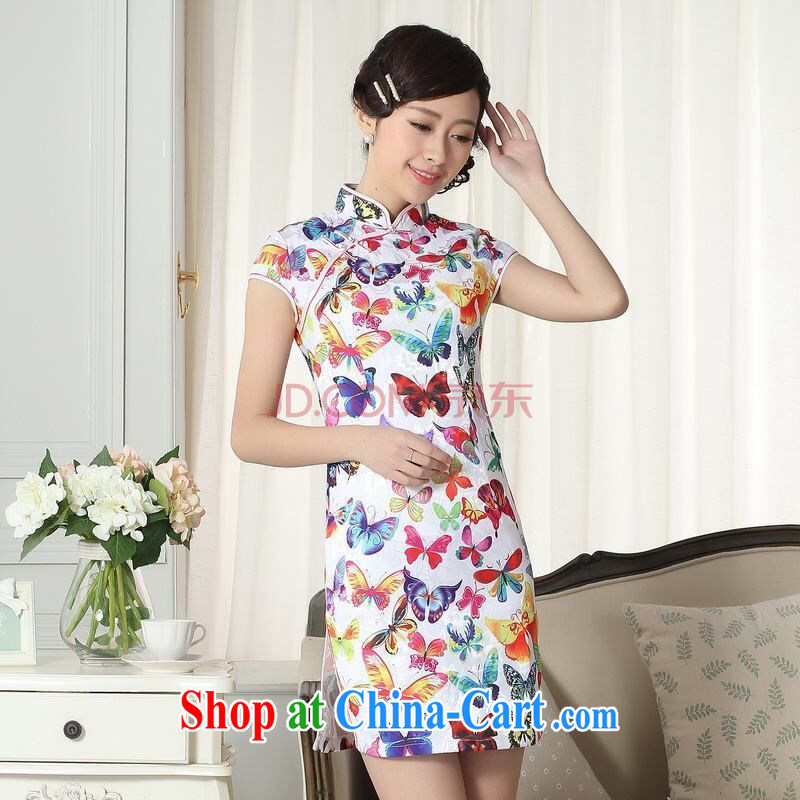 The broadband lady stylish jacquard cotton cultivating short cheongsam dress new Chinese qipao gown picture color 2 XL