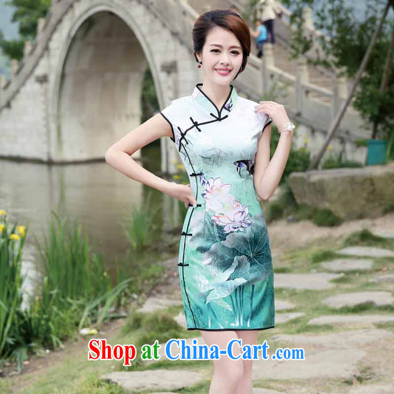 The products are Queen's 2015 summer new ramp ends improved temperament lady beauty graphics thin retro package and marvel cheongsam dress Black Lotus XL