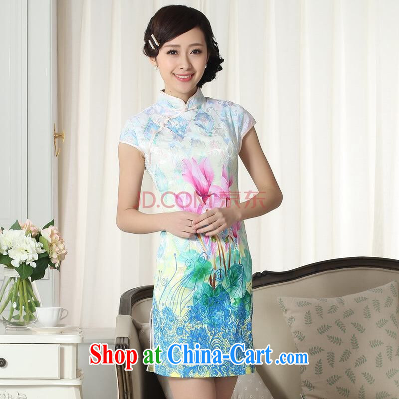 Row-frequency factory direct new summer elegance Chinese qipao Chinese graphics thin short cheongsam picture color 2 XL