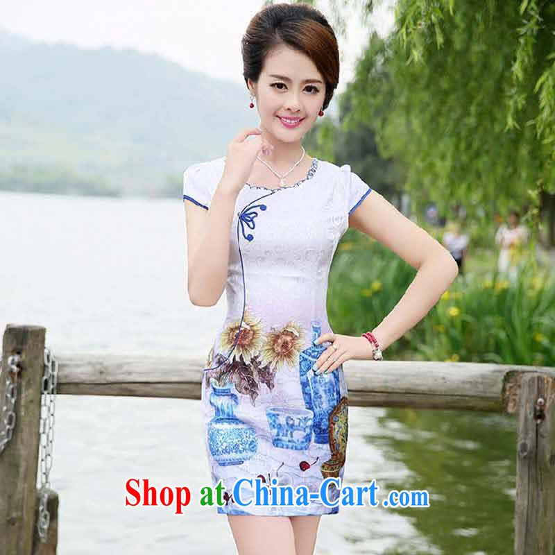The product is still not thick 2015 new summer beauty Ms. graphics thin elegant sexy cheongsam dress flower vase XXL