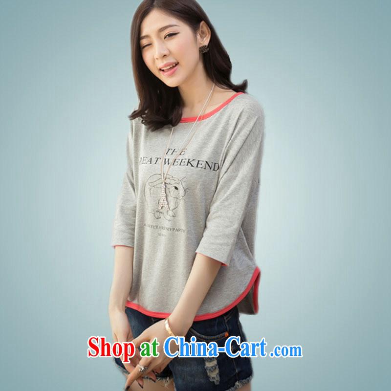 Ya-ting store 2015 summer new Korean female loose video thin 5 T cuff shirt gray XL