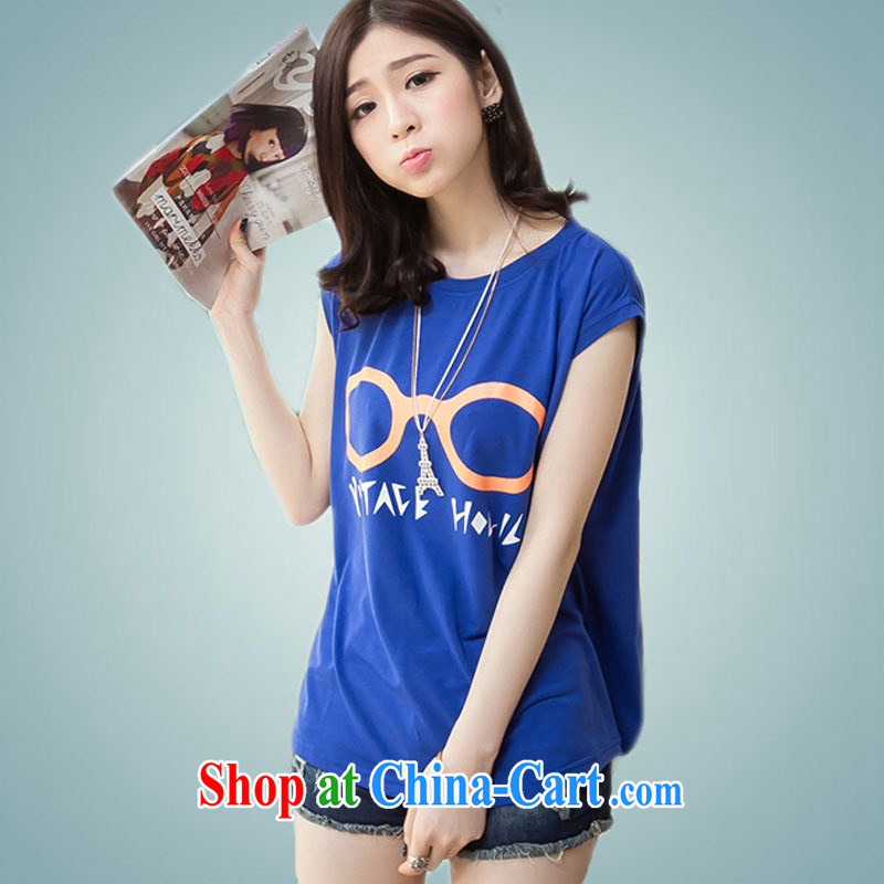 Ya-ting store Korean version 2015 summer new women with loose video thin round-collar short-sleeve shirt T blue XL