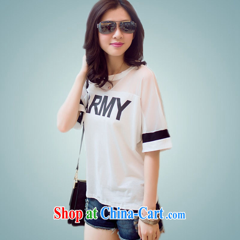 Ya-ting store 2015 spring and summer new Korean Web yarn short-sleeved shirt T larger female black XXL