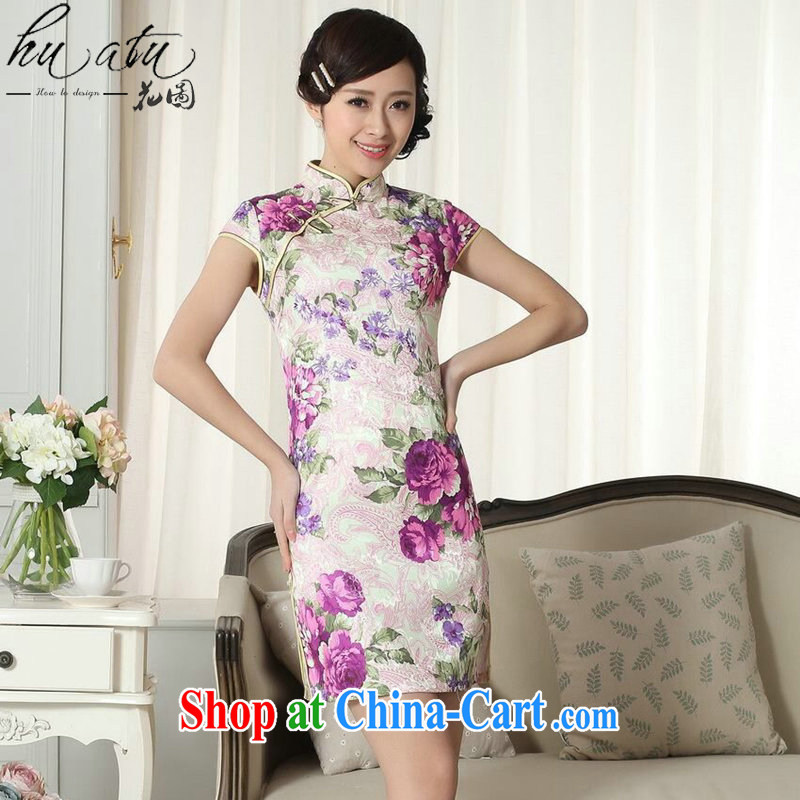 spend the summer outfit with new Tang Women's clothes Chinese improved national costumes jacquard cotton graphics thin a tight short dresses such as the color 2 XL
