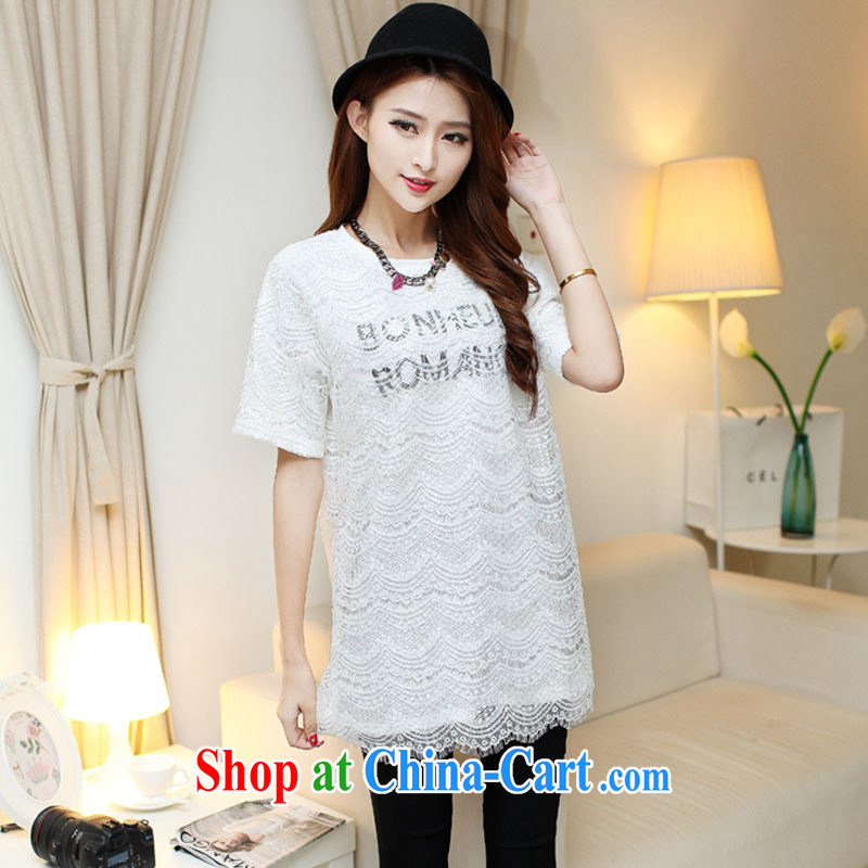 Ya-ting store 2015 spring and summer new female Korean round-collar letters lace T pension female beauty graphics thin clothing white are code