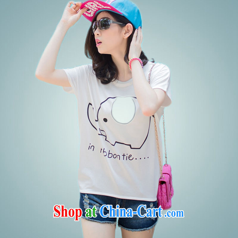 Ya-ting store 2015 summer new, larger female Korean short-sleeved T shirt T-shirt pink XXL