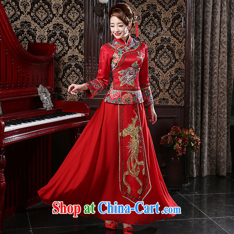Moon ? guijin bridal Ceremony Service Sau Wo service Chinese marriage end bows outfit married Yi Duplicate, 2015 New Sau kimono red xxl code from Suzhou shipping
