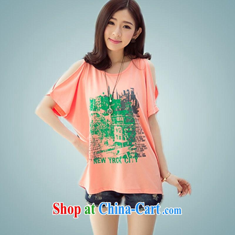 Ya-ting store Korean version 2015 summer new, female round-collar relaxed short sleeved shirt T larger orange XL