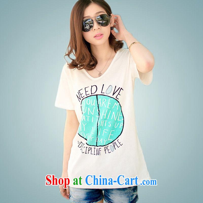 Ya-ting store Korean version 2015 summer new female V collar loose stamp short-sleeved shirt T female orange XL