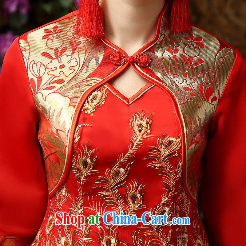 Kenneth Gordon WU 2015 leading edge new cuff in Red video thin toast cheongsam Chinese Antique style long embroidery married Yi wedding service bridal cheongsam dress red L, Su Xiang, and shopping on the Internet