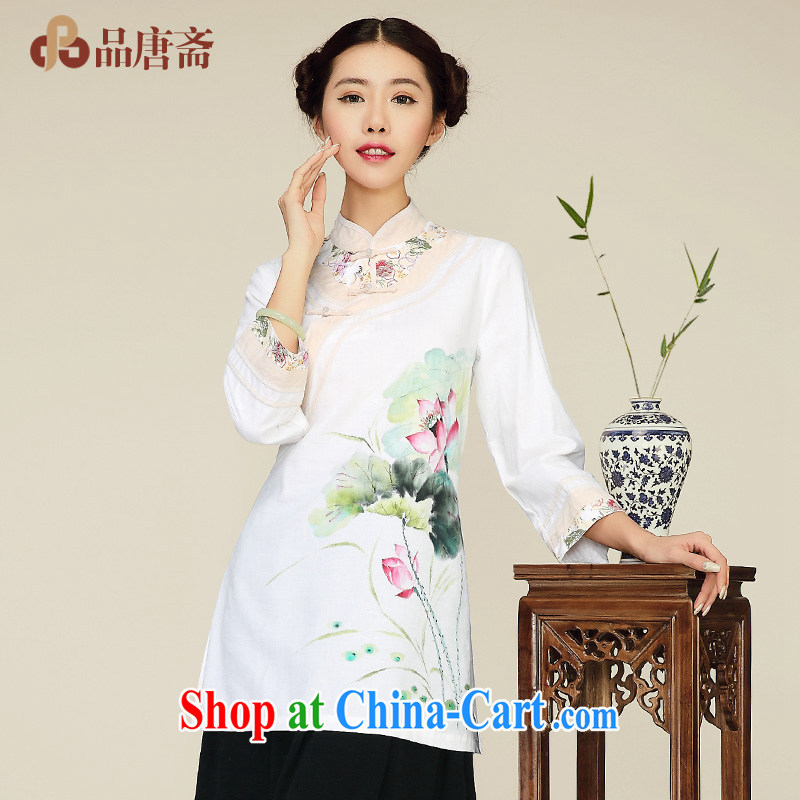 For Tang Id al-Fitr spring new 2015 China wind cotton Ma Sau San, long, improved long-sleeved T-shirt outfit white XL