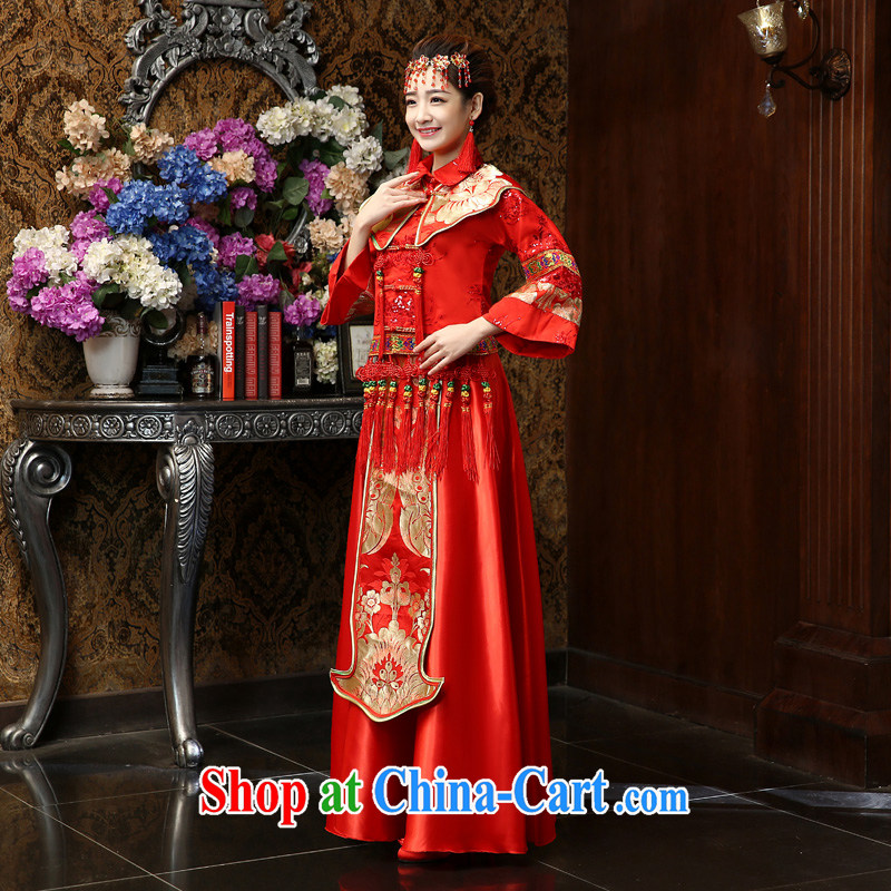 Su Wu edge 2015 new show reel Service Bridal Chinese wedding dress Phoenix use Chinese bows serving red cheongsam Sau kimono red L