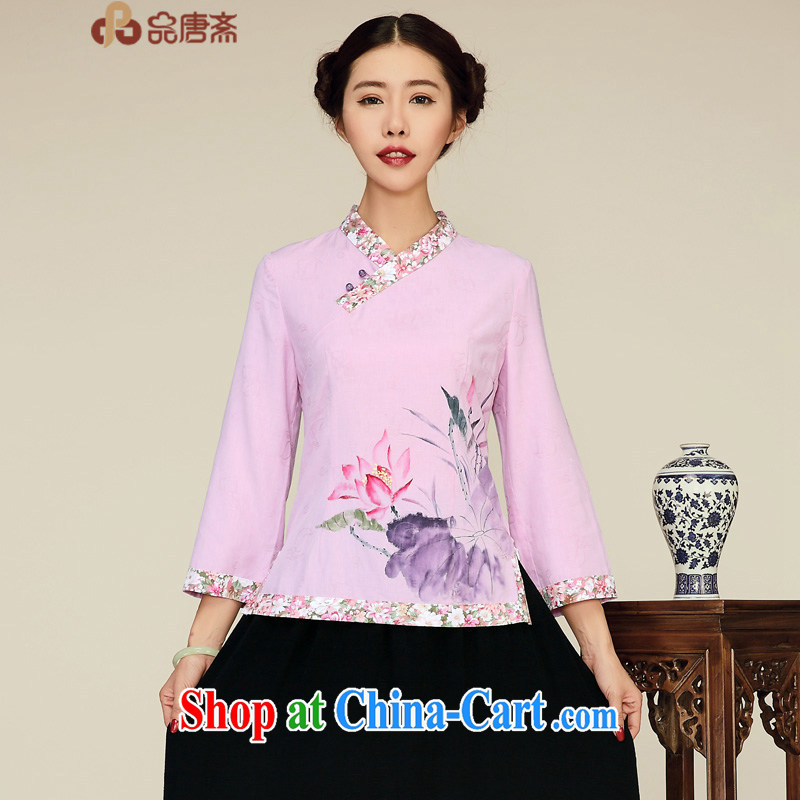 For Tang Ramadan 2015 spring new Ethnic Wind 2015 cotton Ma long-sleeved cultivating Chinese antique dresses shirt light purple XL