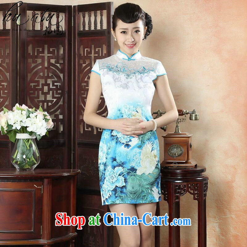 spend the summer dresses and stylish lady dresses daily improved cultivation, Chinese collar elegant embroidery short dresses such as the color 2 XL