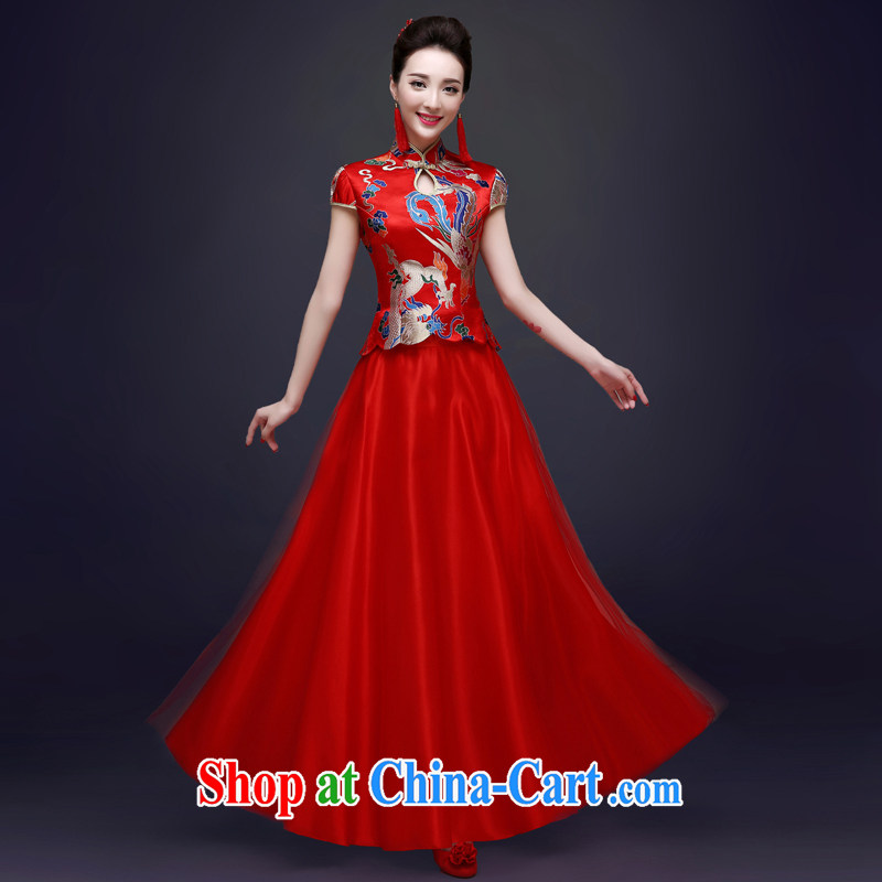 Service was good in spring 2015 new bride toast wedding clothes red summer long cheongsam, Chinese Dress female Red L