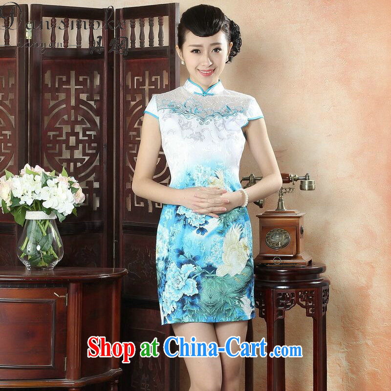 Bin Laden smoke-free summer dresses fashion lady dresses daily improved cultivating Chinese, for elegant embroidery short cheongsam as color 2XL
