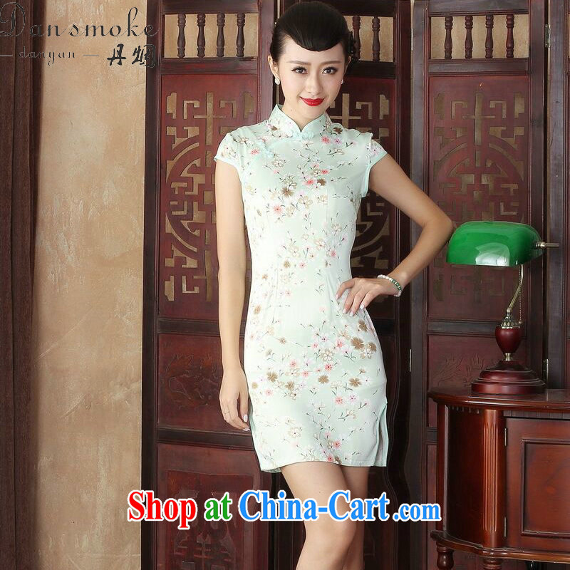 Bin Laden smoke summer 2015 new, antique Silk Cheongsam dress stylish improved daily style beauty sexy graphics thin short cheongsam as color 2XL