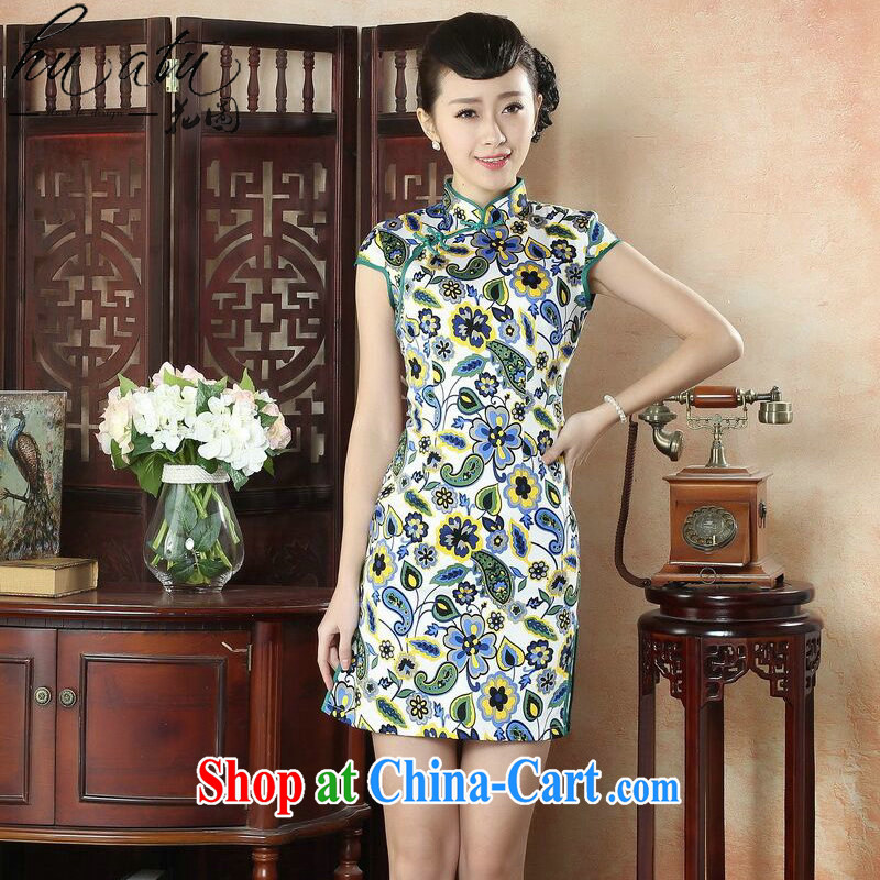 spend the summer short cheongsam improved stylish dresses skirt retro elegant lady, for cultivating female cheongsam dress as shown color S