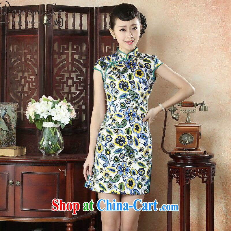 Bin Laden smoke-free summer short, improved qipao cheongsam Stylish retro skirt elegant lady, for cultivating female cheongsam dress such as the color 2 XL