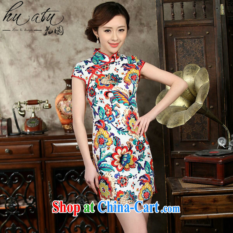 Take the new summer cheongsam dress daily improved retro dresses jacquard cotton stamp beauty and elegant short dresses such as the color 2 XL