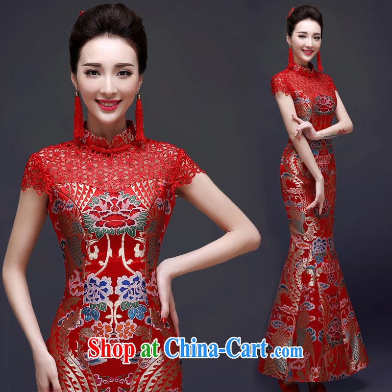 A good service is 2015 new bride toast clothing Spring Summer dresses marriage long red Chinese Dress female Red 2 XL